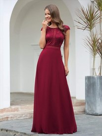 Burgundy Embroidered Lace Bodice Long Bridesmaid Dress With Cap Sleeve