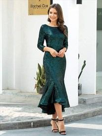 Emerald Green Sequin Mermaid Tea Length Cocktail Dresses With Sleeve