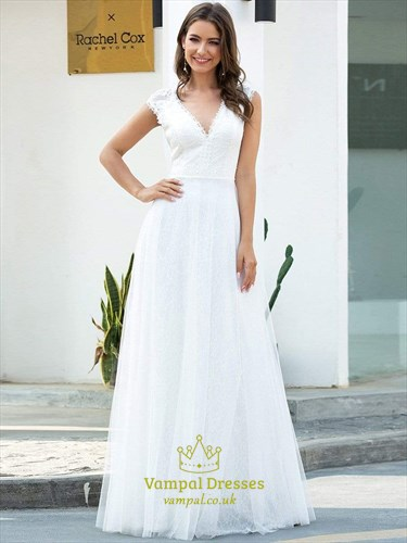 Gorgeous White V Neck A-Line Tulle Long Prom Dresses With Lace Bodice