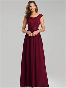 Burgundy Lace Top Chiffon Bottom Long Bridesmaid Dress With Cap Sleeve
