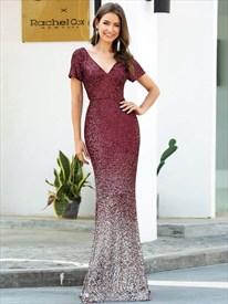 Sparkling Burgundy Sequin V Neck Mermaid Prom Dress With Short Sleeve