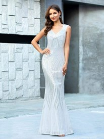 Sparkling Silver Sequin V Neck Long Sleeveless Mermaid Evening Dresses