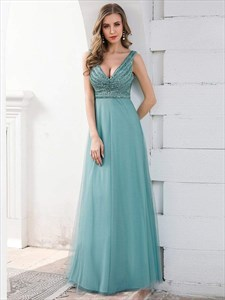 Dusty Blue Sequin Stripes Deep V Neck Sleeveless Tulle Evening Dresses