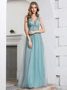 Dusty Blue Sequin Top Tulle Bottom V Neck Sleeveless Tulle Prom Dress