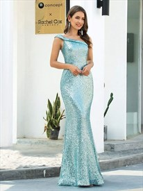 Gorgeous Aqua Blue One Shoulder Sequin Mermaid Formal Evening Dresses