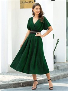 Dark Green A-Line V Neck Tea Length Cocktail Dress With Ruffle Sleeve