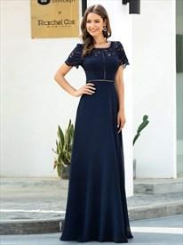 Navy Blue Sheer Lace Bodice Chiffon Long Prom Dress With Short Sleeve
