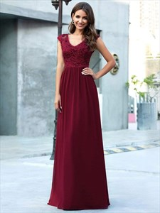 Burgundy V Neck Lace Top Chiffon Bottom Evening Dress With Cap Sleeve