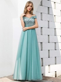 Blue Off The Shoulder V Neck Sequin Top Tulle Bottom Bridesmaid Dress