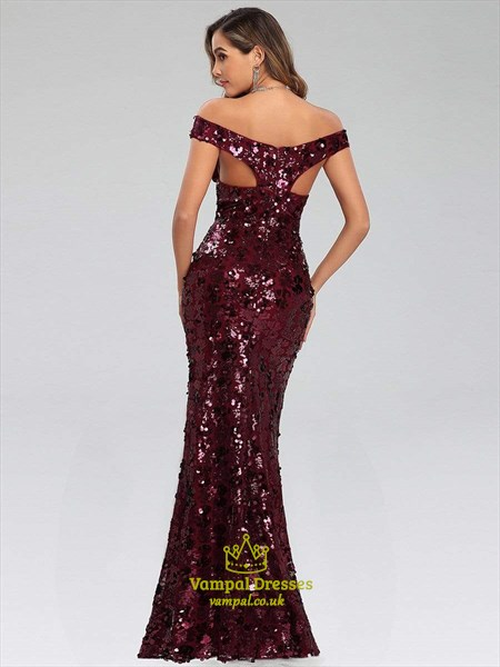 Burgundy Off The Shoulder V Neck Sequin Mermaid Long Evening Dresses