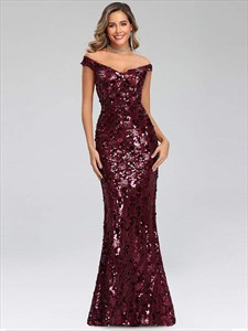Burgundy Off The Shoulder V Neck Sequin Mermaid Long Evening Dresses