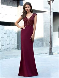Elegant Burgundy V-Neck Sequin Mermaid Evening Dresses With Cap Sleeve