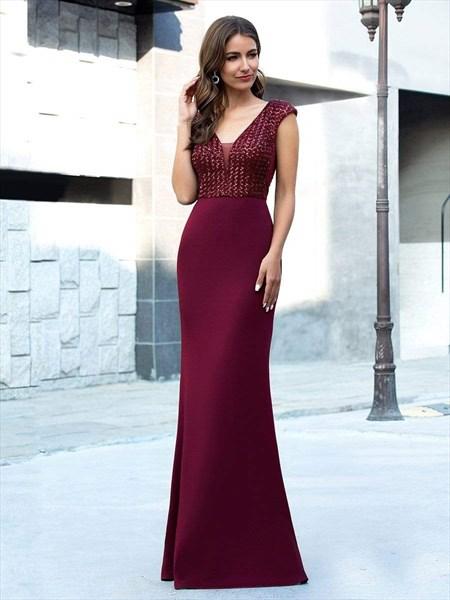 Elegant Burgundy V-Neck Sequin Mermaid Evening Dresses With Cap Sleeve