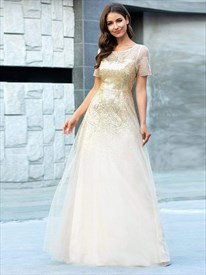 Gold Illusion Sequin Top Tulle Bottom Evening Dress With Short Sleeve