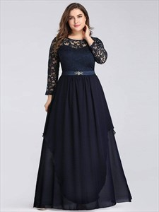 Plus Size Navy Blue Lace Top Chiffon Bottom Prom Dress With Long Sleeve