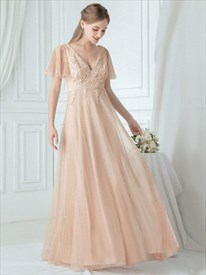 Blush Pink V Neck Lace Applique Bridesmaid Dresses With Ruffle Sleeve