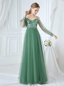 Green Spaghetti Strap Lace Applique Prom Dress With Long Sheer Sleeves