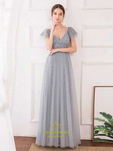 Grey V Neck Lace Top Tulle Bottom Bridesmaid Dress With Ruffle Sleeve