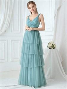 Dusty Blue V Neck Sleeveless Pleated Layered Tulle Bridesmaid Dresses