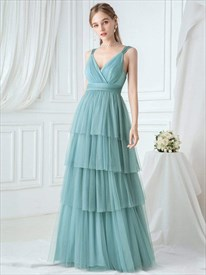 Dusty Blue V Neck Sleeveless Pleated Layered Tulle Bridesmaid Dresses