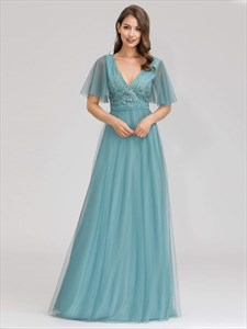 Dusty Blue V Neck Embroidery Tulle Bridesmaid Dress With Ruffle Sleeves