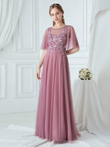 Purple Orchid Lace Applique Tulle Bridesmaid Dresses With Sheer Sleeve