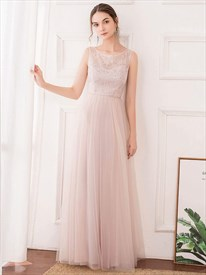 Pink Sleeveless Embroidery Lace Top Tulle Bottom Long Bridesmaid Dress