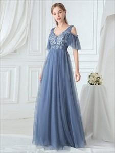 Romantic Dusty Blue V-Neck Lace Applique Tulle Long Bridesmaid Dresses