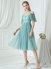 Green Off The Shoulder Lace Applique Short Bridesmaid Dress With Strap