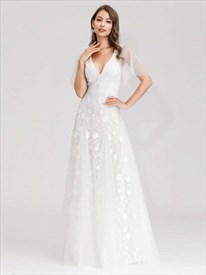 White V-Neck Embroidered Lace Applique Wedding Dress With Sheer Sleeves