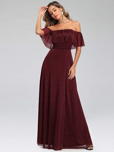 Burgundy A-Line Pleated Off Shoulder Ruffle Top Long Evening Dresses
