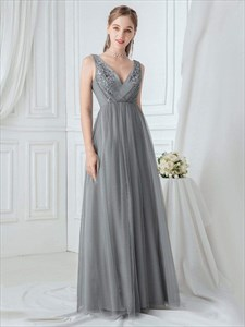 Grey V Neck Sleeveless Lace Applique Floor Length Tulle Evening Dress