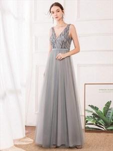 Grey V Neck Sleeveless Sequin Top Tulle Bottom Floor Length Prom Dress