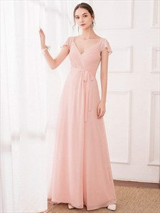 Pink Chiffon V Neck Pleated A-Line Bridesmaid Dress With Ruffle Sleeve