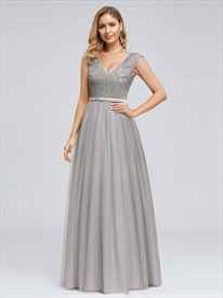 Elegant Grey V-Neck Sleeveless Sequin Top Tulle Bottom Evening Dresses
