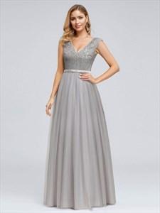 Elegant Grey V-Neck Sleeveless Sequin Top Tulle Bottom Evening Dresses