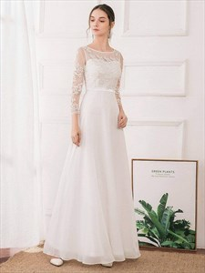 White Chiffon Illusion Lace Applique Prom Dress With Long Sheer Sleeve