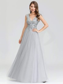 Grey V Neck Sleeveless Sequin Lace Applique Tulle Long Evening Dresses