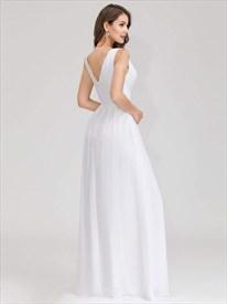 White Chiffon A-Line Illusion V-Neck Sleeveless Ruched Evening Dresses