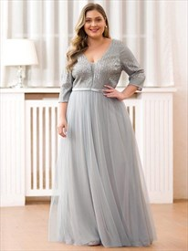 Grey V-Neck Sequin Top Tulle Bottom Evening Dresses With Half Sleeves