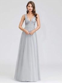 Grey V-Neck Sleeveless Beaded Embellished Lace Top Tulle Prom Dresses