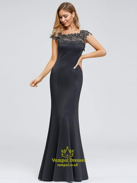 Dark Grey Illusion Lace Applique Mermaid Prom Dresses With Cap Sleeves