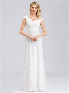White V-Neck Floral Embroidered Lace Wedding Dresses With Cap Sleeves