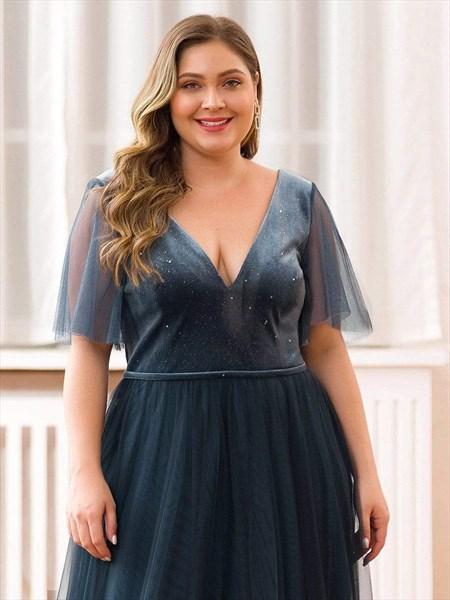 Dusty Navy V-Neck Tulle Floor Length Evening Dresses With Short Sleeve