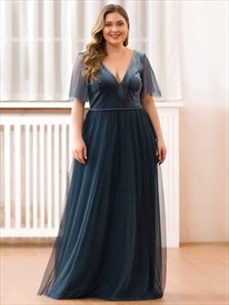 Dusty Navy V-Neck Tulle Floor Length Evening Dresses With Short Sleeve