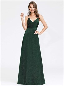 Emerald Green A-Line V-Neck Spaghetti Straps Floor Length Prom Dresses