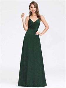 Emerald Green A-Line V-Neck Spaghetti Straps Floor Length Prom Dresses