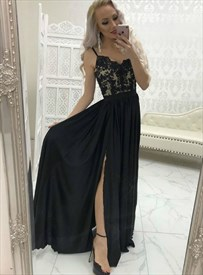 Black Chiffon Lace Applique Spaghetti Strap Prom Dress With Side Split