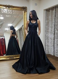 Black Satin Backless Scoop Neck Sleeveless Long Prom Dress With Pocket