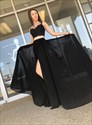 Black Chiffon Two Piece Lace Applique Spaghetti Straps Long Prom Dress